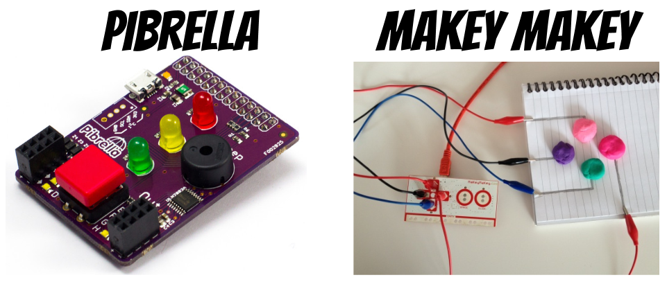 Add ons for Raspberry Pi: Pibrella and Makey Makey
